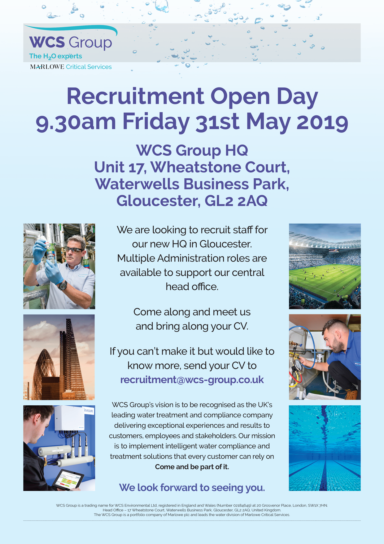 Recruitment Open Day - 9.30am Friday 31st May 2019